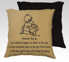 """Winnie the Pooh Pillow Cover Nursery 18 X18 Art Pillow by SHABBYHAPPYDesigns, Winnie the pooh , Christopher Robin """" A little Boy and His bear """"  Quote Wall Decal Coordinate  Pooh Bear Zippered Pillow  Cushion Cover Case Disney throw pillow for Children's Room"""