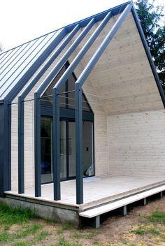 Steel Frame House, A Frame House, Steel House, Minimal House Design, Gable House, House Cladding, Building A Cabin, Modern Barn House, Casas Containers