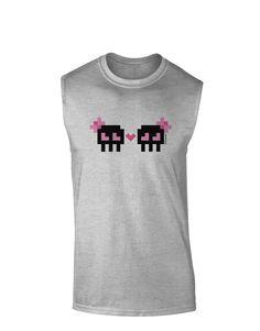 TooLoud 8-Bit Skull Love - Girl and Girl Muscle Shirt