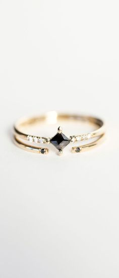Jennie Kwon Designs Diamond Equilibrium Point Ring & Black Diamond 2 Cuff Ring...