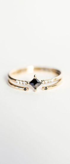 Jennie Kwon Designs Diamond Equilibrium Point Ring & Black Diamond 2 Cuff Ring...