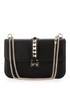 Valentino Rockstud Medium Flap Bag, Black - Neiman Marcus
