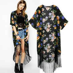 W.ZXS - Hot-Selling 2014 NEW Women European Style Long Tassel Short-Sleeved Brand Printing Cardigan Plus Size S-XXL WR01   $14,82