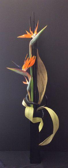 Bird of paradise floral arrangement. Tropical Flower Arrangements, Modern Floral Arrangements, Ikebana Flower Arrangement, Ikebana Arrangements, Tropical Flowers, Flower Show, Flower Art, Palm Frond Art, Design Floral
