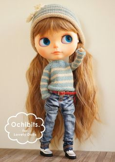 Hand-knitted sweater - BLUE x BEIGE for blythe/ licca