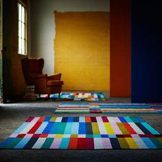 """Un tapis effet patchwork """"Halved"""" dont le motif nous rappelle la mire de la télévision, IKEA"""