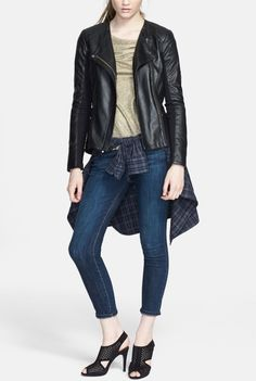 Love the whole look, especially the black leather jacket!