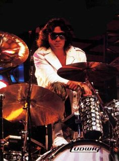 Alex Van Halen, circa late 80's - I used to have a poster like this in high school.  Ironic that my son is now a drummer!