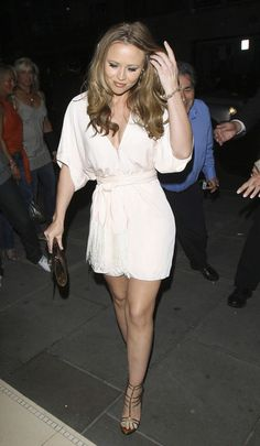 Kimberley Walsh Mini Dress - Kimberley Walsh showed off some cleavage and leg in a pale pink kimono-inspired mini dress during Cheryl Coles' birthday party.