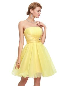 Elegant Sleeveless Short Cocktail Dress in Cocktail Dresses Free worldwide shipping! Strapless Dress Formal, Formal Dresses, Short Cocktail Dress, Corset, Cocktails, Bridesmaid Dresses, Women, Fashion, Tulle