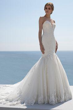 Mark Lesley Bridalwear 7408 - Mark Lesley Bridalwear Designer Wedding Dresses, Wedding Gowns, Sabrina Neckline, Fishtail Dress, Perfect Bride, Illusion Neckline, Chantilly Lace, Beaded Lace, Bridal Boutique