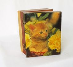 Vintage Small Cedar Wood Box with Kitten Picture by pinkpainter, $12.00