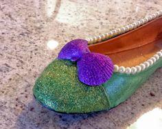 ariel little mermaid disney flat shoe custom Disneyland wedding/ cosplay/ birthday glitter princess cute pretty toms keds high heels