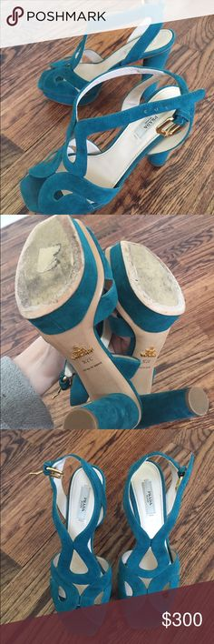 Prada pumps Great condition. Suede turquoise leather. Beautiful for summer. Size 37,5 Prada Shoes Heels