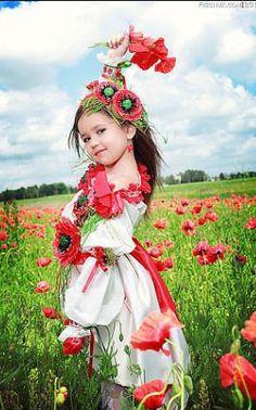 Ukrainian  girl  poppy field