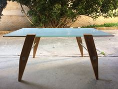 Frosted glass top coffee table handcrafted with reclaimed wood and aluminium #theonlyone