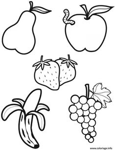 Drawing Pictures For Kids, Outline Pictures, Outline Images, Easy Drawings For Kids, Pictures To Draw, Fruit Coloring Pages, Colouring Pages, Coloring Books, Planet Crafts