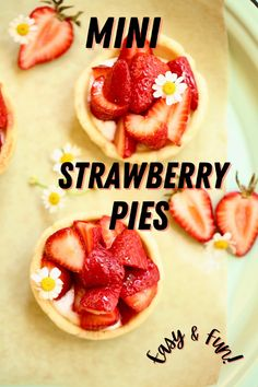 These Mini Strawberry Pies use a big shortcut ingredient plus sweet strawberries, whipped cream and a muffin tin to make pretty and delicious individual pies. #ministrawberrypiesrecipe #strawberrydessert #minipies #studiodeliciouseats #cookiecups Desserts For A Crowd, Great Desserts, No Bake Desserts, Delicious Desserts, Yummy Food, Strawberry Pie, Strawberry Desserts, Strawberry Whipped Cream, Pie Recipes