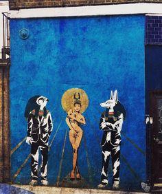 One of my favourite pieces of street art Anubis Horus and Hathor in Islington #islington #thisisislington #london #city #urban #streetart #graffiti #Egyptian #egyptiangods #anubis #hathor #horus #mextures #mexturesapp by anubisontoast