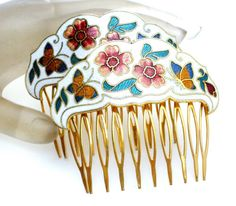 Cloisonne-Enamel-Butterfly-Hair-Combs-Vintage-Pair-Floral-Jewelry-Accessory-Set