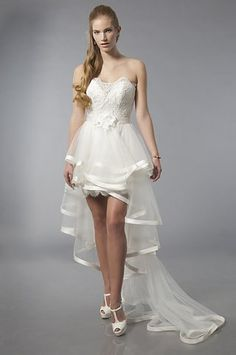 short in front long in back wedding dresses | Short Front Long Back Detachable Tail Wedding Gown 6894