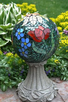 Custom order stained glass mosaic gazing ball by www.schilltill.etsy.com