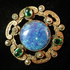 STUNNING! ANTIQUE TRUE GAY 90'S GLASS IN METAL BUTTON WITH GREEN & BLUE STONES