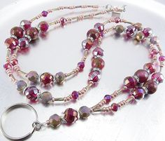 Beaded Lanyard - Fuchsia and Rainbow Crystal Sparkly Beaded ID Badge Holder, ID Lanyard, Glasses Holder by mmojewelry on Etsy
