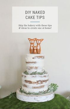 DIY Naked Cake – 5 Tips and ideas to make your own tiered cake (partially naked or semi nude works, too!) for a baby shower, bridal or wedding shower, or any elegant, natural party! The cake looks very organic and inspired by nature, and it's a beautiful blank slate recipe to decorate any way you want. Save money and don't buy an expensive bakery pastry when you can bake your own from scratch with this easy beginner tutorial!