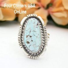 Size 7 3/4 Dry Creek Turquoise Sterling Ring Larry Yazzie Four Corners USA OnLine Native American Indian Silver Jewelry NAR-13102