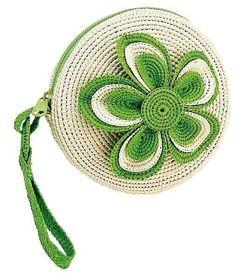 Monederos de crochet: Fotos de diseños y patrones - Monedero de crochet en color verde