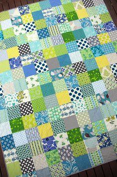 Green scrappy quilt