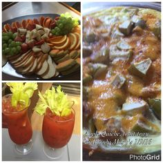 Apple cheddar Quiche, a fruit platter and spicy Bloody Mary's.