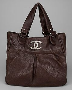 Chanel Brown Distressed Quilted Leather Le Marais Tote