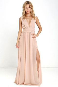 4d1ec4ae1c You  be goddess-like for the entire evening in the Heavenly Hues Blush Maxi  Dress! Georgette fabric drapes alongside a V-neck and back