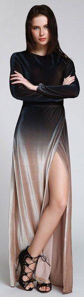 velvet ombre maxi dress