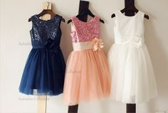 Navy Blue/White/Pink Sequins Tulle Flower Girl Dress PAGEANT Communion Baptism Christening Baby Girl Party Dress