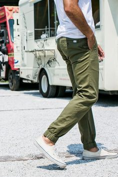 Olive jogger Pant paired with sneakers