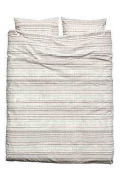 Patterned duvet cover set - Light beige - Home All | H&M CA 1