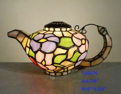 Tiffany Stained Glass Leadlight Floral Teapot Decorative Accent ...