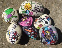 Alice in Wonderland rocks. painted rocks