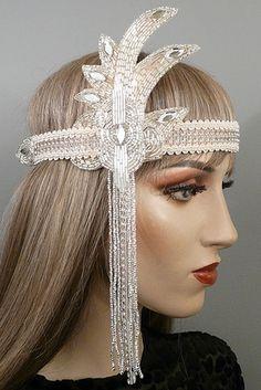 Mia Gatsby Flapper Headband Ivory Silver