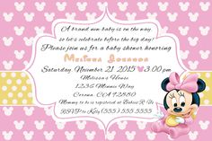 Baby Minnie Mouse Baby Shower Invitiation please click on photo twice to place orders or follow me on Facebook or e-mail me at the address in my about me section