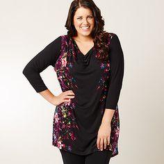 MODA Floral Block Print Tunic - Black Cowl Neck, Target, Sari, Tunic, Australia, Elegant, Stylish, Floral, Sleeves