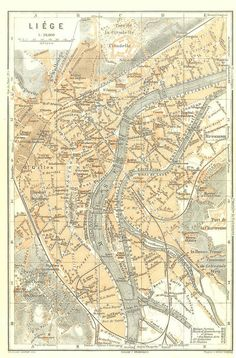 1910 Anvers City Centre Map Belgium Street Plan by CarambasVintage, $16.00