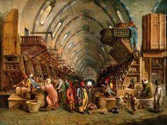 The Grand Bazaar in Istanbul, 'John Varley II', Century (Kapalıçarşı Istanbul, Empire Ottoman, Medieval Market, Victorian Paintings, Islamic Paintings, Grand Bazaar, Arabic Art, Art Uk, Vintage Travel Posters