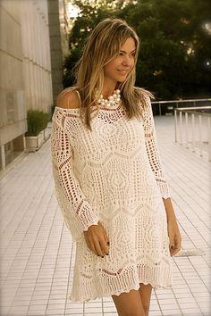 Belo vestido de crochê (sem receita). #inspiration_crochet_diy GB ...