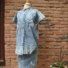 Stone/Acid Washed Denim Top and Skirt with Fancy Applique Detailing