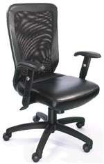 Boss B580 High-Back Web Mesh Chair w/ Leather Seat.  Unique mesh tension knob allows you to adjust the mesh tightness in the back.