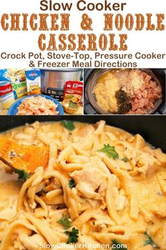 Cheap and easy, quick and tasty chicken and noodles crockpot! With slow cooker, skillet, pressure cooker, & freezer friendly directions! I hope this recipe helps you feed everyone & makes them smile. Enjoy! | SlowCookerKitchen.com Slow Cooker Recipes, Crockpot Recipes, Slow Cooker Kitchen, Chicken Noodle Casserole, Chicken Gravy, Noodle Recipes, Slow Cooker Chicken, Freezer Meals, Skillet